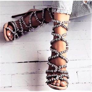 Shoes - Strappy rhinestone embellished open to high heel